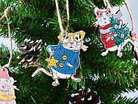 Новорічні іграшки з дерева Мишенята з УФ друком