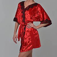 Халат женский мраморный велюр M-7040 красный, фото 1