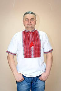Вишиванка чоловіча Волинські візерунки ткана з коротким рукавом Тіффані червона 56 р. біла