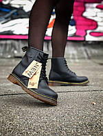 Женские ботинки Dr. Martens 1460 Black  (в стиле Martens) черные натуральная кожа демисезон