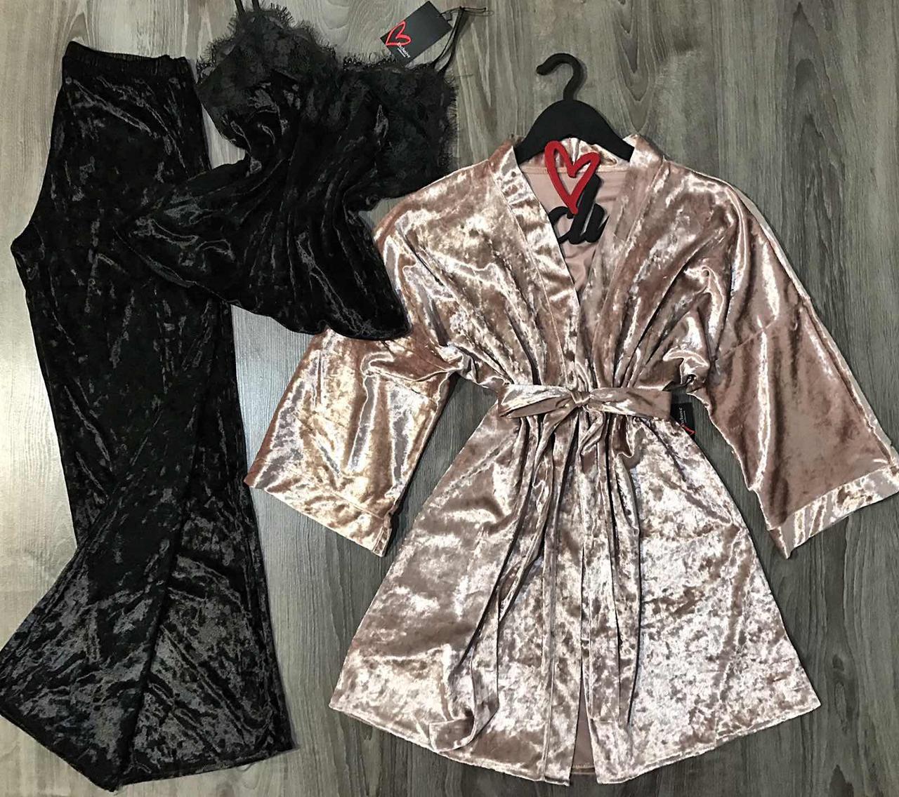 Комплект велюровый тройка, халат+майка+штаны