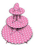 Стойка для сладостей розовая  в горошек