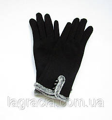 Зимние женские перчатки на плюше (хлопок) Черный