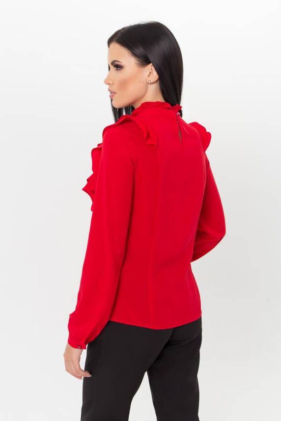 Нарядная красная блузка с рюшами, фото 2