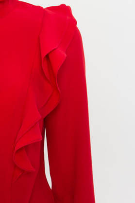 Нарядная красная блузка с рюшами, фото 3
