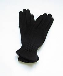 Зимние трикотажные женские перчатки из хлопка Черный