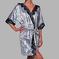 Халат женский мраморный велюр M-7050 серебро, фото 1