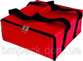 Термосумка для доставки пиццы красная застёжка молния, фото 2
