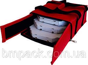 Термосумка для доставки пиццы красная застёжка молния, фото 3