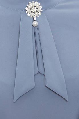 Нарядная женская блузка с рюшами голубая, фото 3