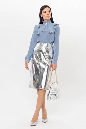 Нарядная женская блузка с рюшами голубая, фото 2