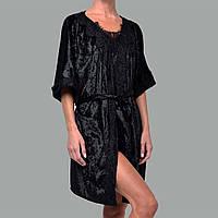 Халат женский мраморный велюр M-7060 черный, фото 1