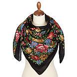 Цветы для души 1870-18, павлопосадский платок шерстяной (разреженная шерсть) с швом зиг-заг, фото 2