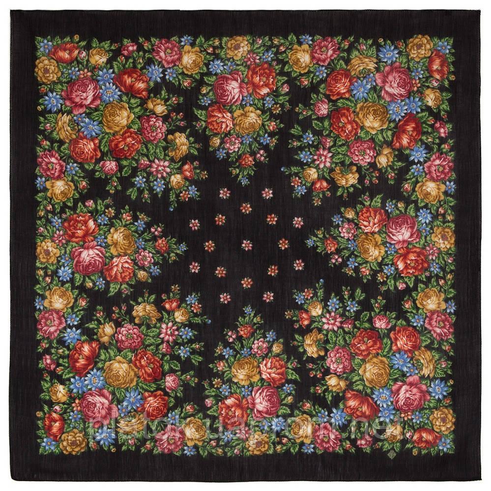 Цветы для души 1870-18, павлопосадский платок шерстяной (разреженная шерсть) с швом зиг-заг