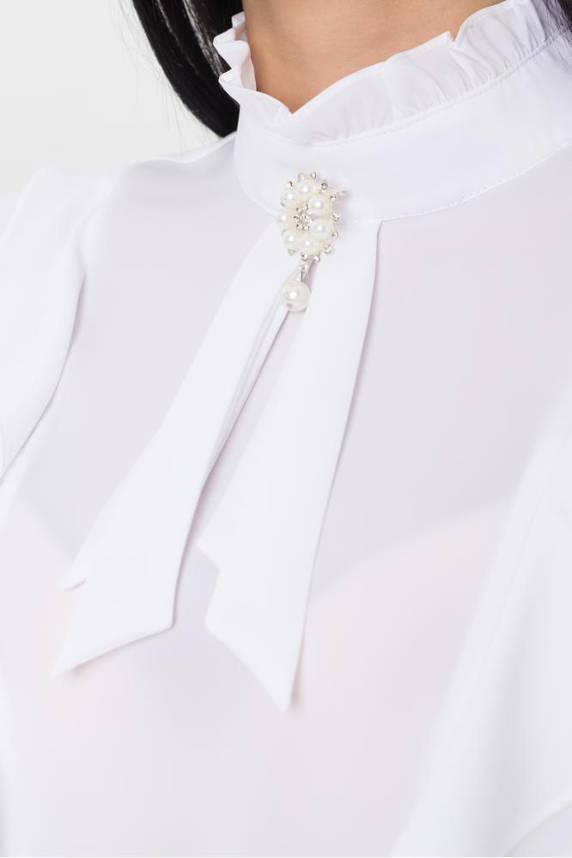 Нарядная белая блузка с рюшами, фото 2