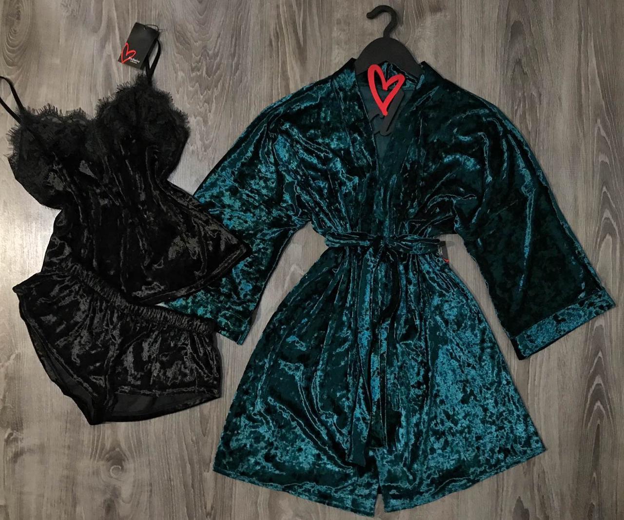 Домашній комплект з велюру, халат, піжама з красивим мереживом