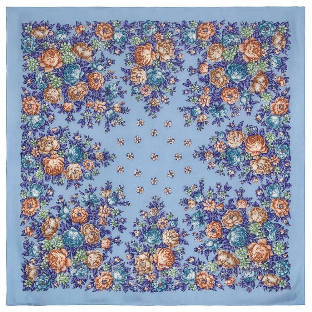 Цветы для души 1870-13, павлопосадский платок шерстяной (разреженная шерсть) с швом зиг-заг