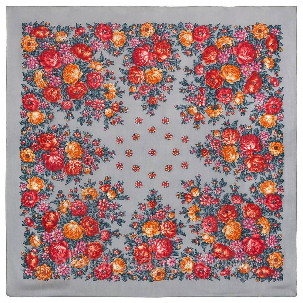 Цветы для души 1870-1, павлопосадский платок шерстяной (разреженная шерсть) с швом зиг-заг