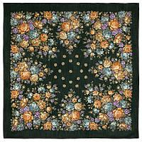Цветы для души 1870-9, павлопосадский платок шерстяной (разреженная шерсть) с швом зиг-заг