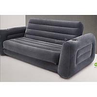 Надувной диван Intex 66552, 203 х 224 х 66 см. Флокированный диван трансформер 2 в 1
