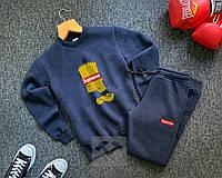 Спортивный костюм теплый Симпсон Supreme на флисе синего цвета