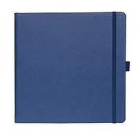 Записна книжка Туксон квадратна синя (Ivory Line), Італія під нанесення логотипу на обкладинці