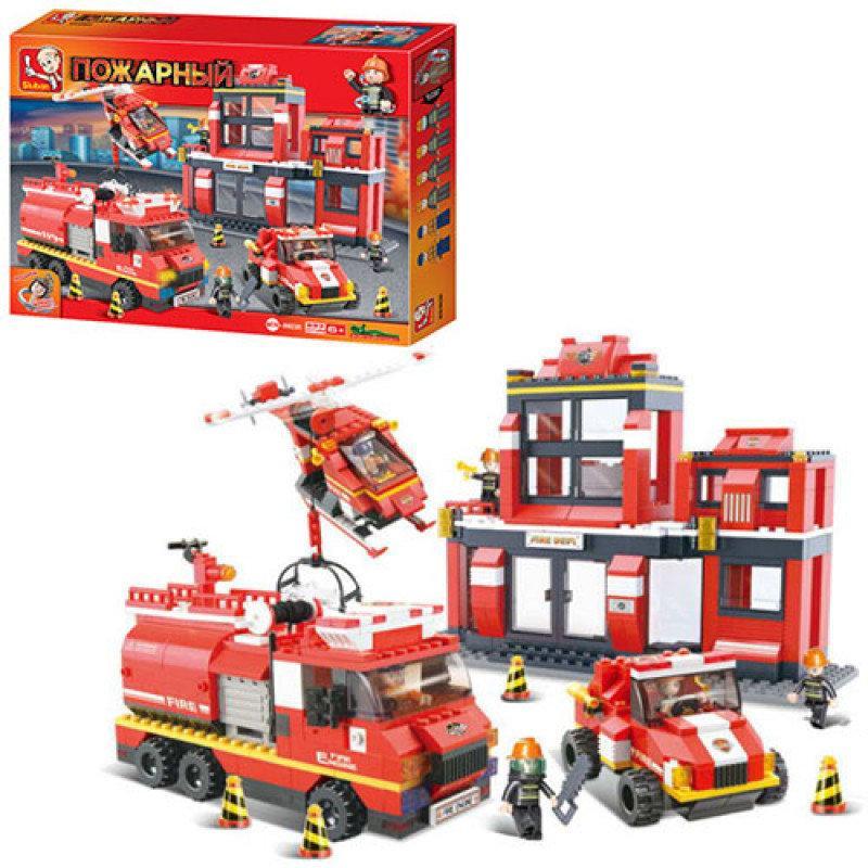 Конструктор пожарный - Пожарная часть большая на 693 деталей, пожарная машина, копия лего Sluban  M38-B0226