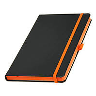 Записная книжка с оранжевым торцом (срезом) Туксон А5, Ivory Line, Италия под нанесение логотипа на обложке