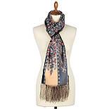 Четыре ветра 1881-68, павлопосадский шарф-палантин шерстяной с шелковой бахромой, фото 2