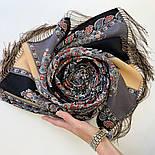 Четыре ветра 1881-68, павлопосадский шарф-палантин шерстяной с шелковой бахромой, фото 3