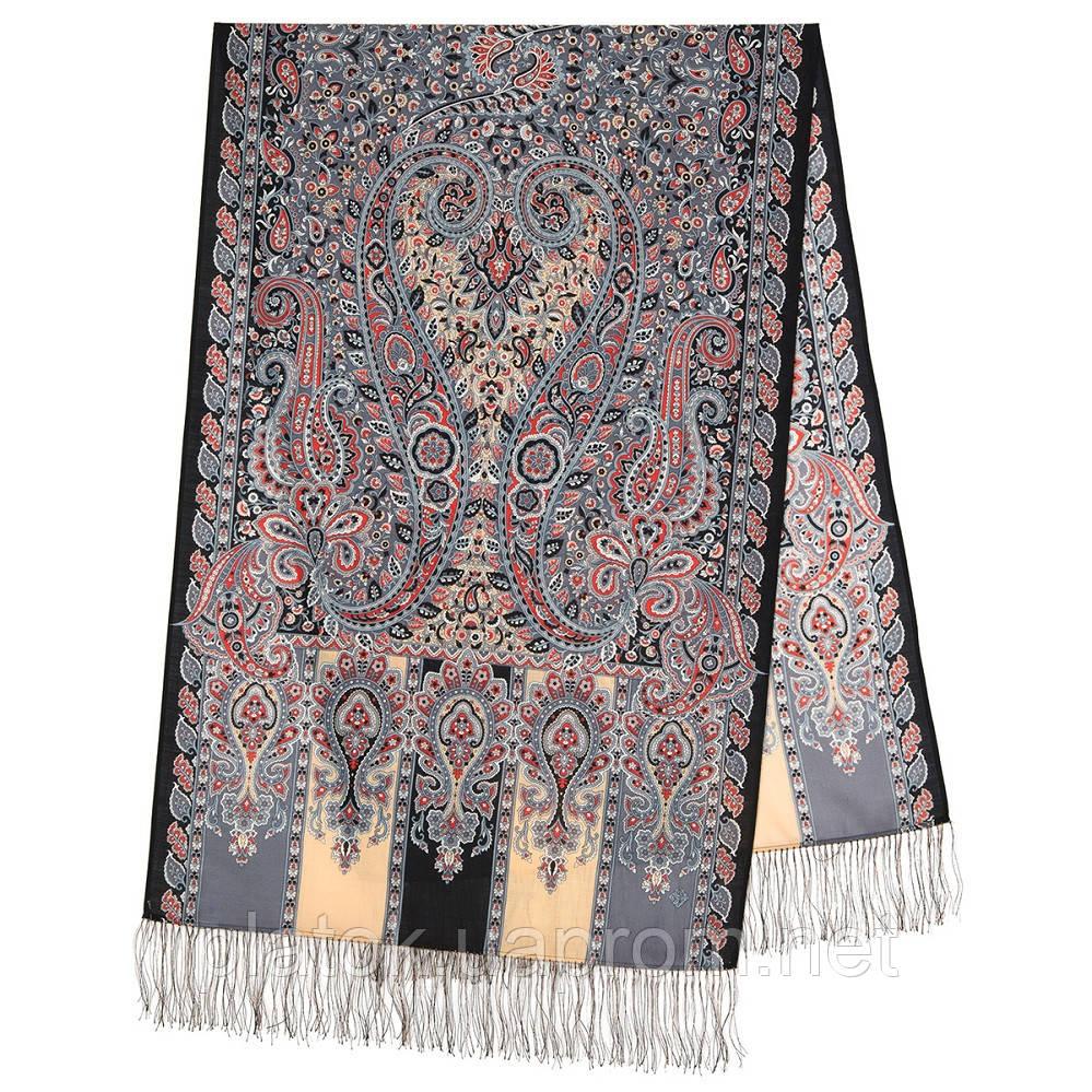 Четыре ветра 1881-68, павлопосадский шарф-палантин шерстяной с шелковой бахромой
