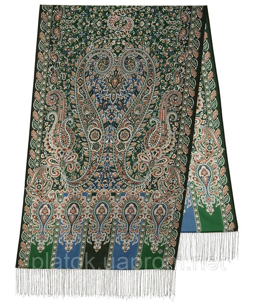 Четыре ветра 1881-59, павлопосадский шарф-палантин шерстяной с шелковой бахромой