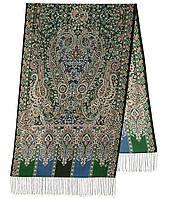 Четыре ветра 1881-59, павлопосадский шарф-палантин шерстяной с шелковой бахромой, фото 1