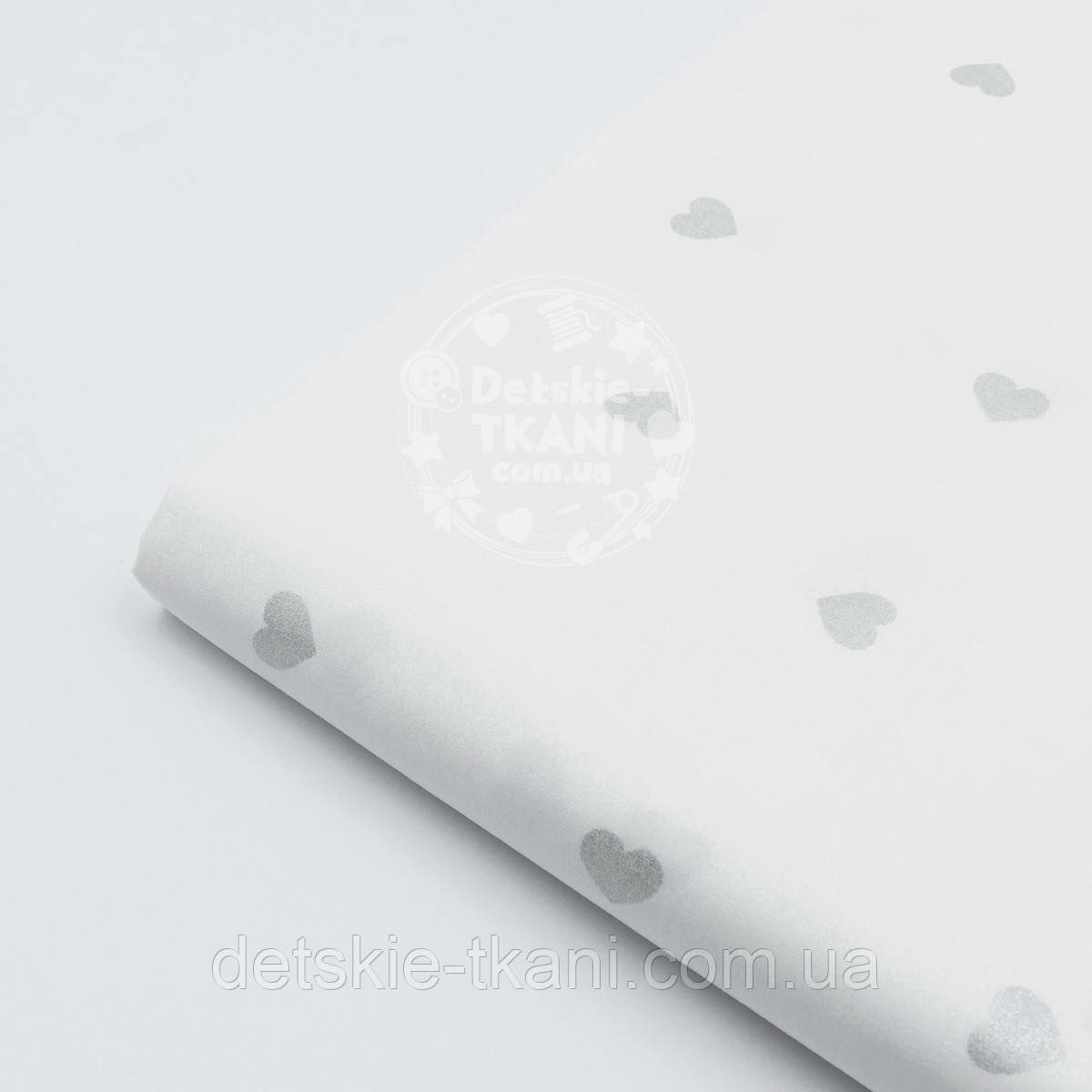 """Отрез поплина шириной 240 см с глиттерным рисунком """"Серебряные сердечки"""" (№1608), размер 98*240"""
