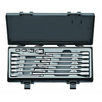 Набор ключей рожково-накидных трещоточных, прямых+адаптеры 16 пр. (8-19 мм)