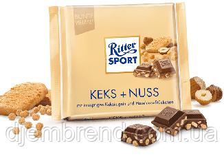 Ritter Sport Keks + Nuss Молочный шоколад с орехами и бисквитом 100г