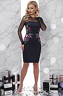 Черное платье по фигуре с рукавами из сетки Донна2 д/р