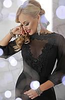 Нарядное длинное платье по фигуре с сеткой и кружевами, волан внизу Бони д/р черное