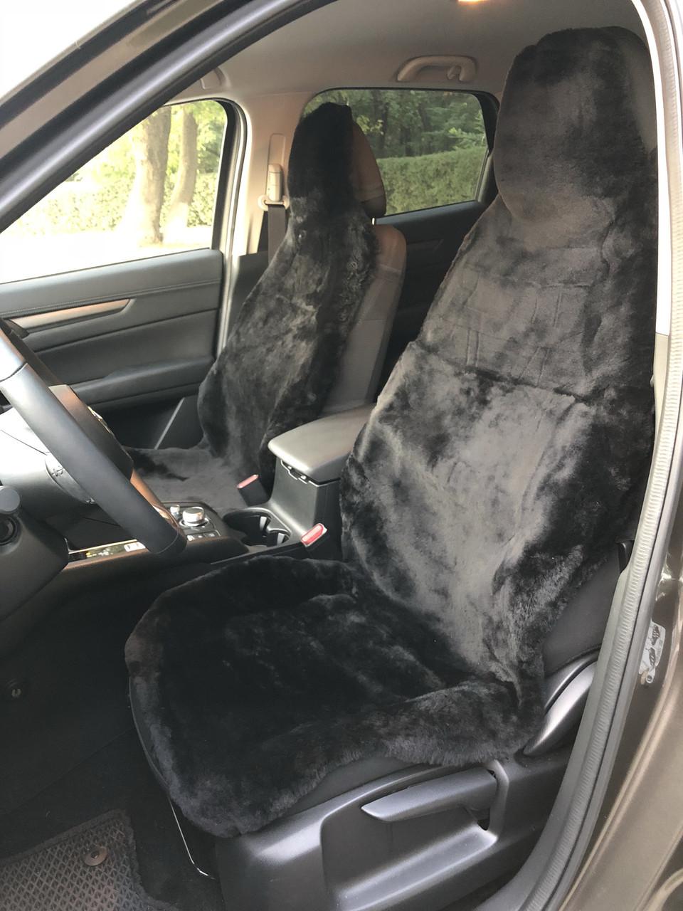 Меховые накидки авточехлы из австралийской овчины Черные
