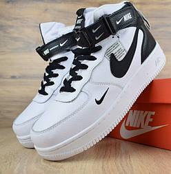 Зимние мужские кроссовки Nike Air Force 1 Mid 07 LV8 Utility белые с черным с мехом. Живое фото. Реплика