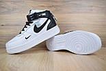 Зимние мужские кроссовки Nike Air Force 1 Mid 07 LV8 Utility белые с черным с мехом. Живое фото. Реплика, фото 3