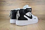 Зимние мужские кроссовки Nike Air Force 1 Mid 07 LV8 Utility белые с черным с мехом. Живое фото. Реплика, фото 4