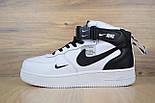 Зимние мужские кроссовки Nike Air Force 1 Mid 07 LV8 Utility белые с черным с мехом. Живое фото. Реплика, фото 6
