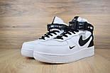 Зимние мужские кроссовки Nike Air Force 1 Mid 07 LV8 Utility белые с черным с мехом. Живое фото. Реплика, фото 5