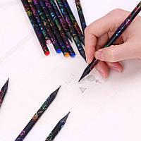 Карандаши с цветной гравировкой и красочными бриллиантами 144шт