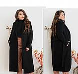 Элегантное женское пальто из кашемира без застежек №318-1-Черный, фото 2