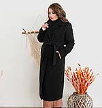 Элегантное женское пальто из кашемира без застежек №318-1-Черный, фото 3