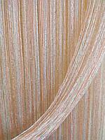 Шторы-нити с персиковым цветом и люрексом 1/209