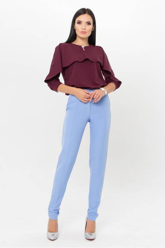 Нарядная женская блузка в офисном стиле бордовая, фото 2