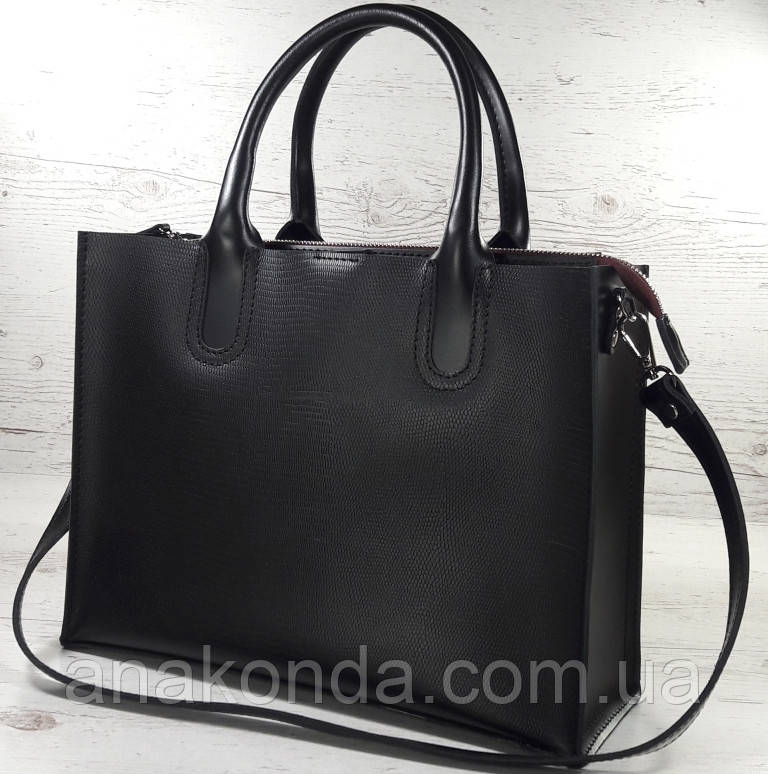 71-6 Натуральная кожа,Сумка женская черная кожаная сумка женская сумка черная с тиснением и подкладкой бордо